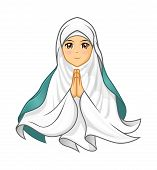 picture of muslim kids  - Muslim Woman Wearing White Veil with Welcoming Arms Vector Illustration - JPG