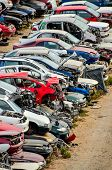 picture of scrap-iron  - Scrap Yard With Pile Of Crushed Cars in tenerife canary islands spain