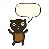 stock photo of bear cub  - cartoon black bear cub with speech bubble - JPG