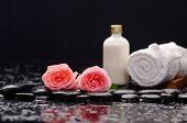 picture of stone-therapy  - Two rose and towel with massage oil and therapy stones  - JPG