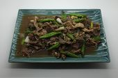 stock photo of liver fry  - Stir fried pork liver with yard long bean - JPG
