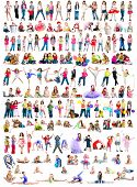 collage photos of  different ages children  on a white background isolated poster