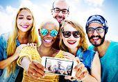 foto of bonding  - Diverse Summer Friends Fun Bonding Selfie Concept - JPG