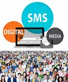 picture of sms  - SMS Digital Media Message Chatting Communication Concept - JPG