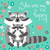 picture of raccoon  - Card with cute raccoons and a declaration of love - JPG