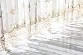 picture of lace-curtain  - light and shadow from curtain lace background - JPG