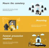 image of cemetery  - Funeral horizontal banner set with flat cemetery and mourning elements isolated vector illustration - JPG