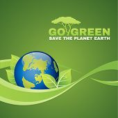 picture of save earth  - Go green save the planet earth is leaf  - JPG