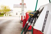 stock photo of petrol  - Pumps at a petrol station - JPG