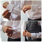 stock photo of cuff  - Groom buttons cuffs on the sleeve shirt - JPG