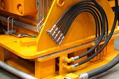 foto of hydraulics  - elements of piping connections hydraulics and pneumatics - JPG