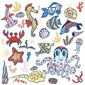 stock photo of shell-fishes  - Sea life animals set  fish - JPG