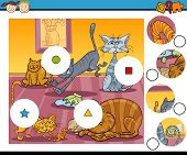 foto of brain-teaser  - Cartoon Illustration of Match the Pieces Educational Game for Preschool Children with Cats Characters - JPG