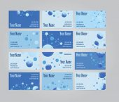 picture of visitation  - Set of twelve blue scientific geometric visit cards - JPG