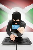 pic of burundi  - Cybercrime concept with flag on background  - JPG