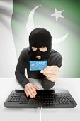 stock photo of pakistani flag  - Cybercrime concept with flag on background  - JPG
