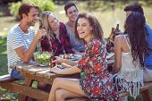 stock photo of lunch  - Happy friends in the park having lunch on a sunny day - JPG