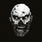 stock photo of madman  - zombie head hand drawn - JPG