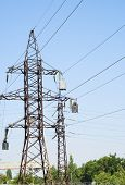 stock photo of utility pole  - huge electric pole with wires and insulators - JPG