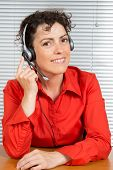 picture of helpdesk  - female customer service operator helpdesk support red shirt - JPG