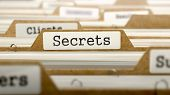 Постер, плакат: Secrets Concept with Word on Folder