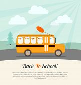 Постер, плакат: School Bus With Festive Flags And Balloon Rides To School