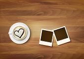 foto of two hearts  - Coffee mug with a heart on a desk and two photos - JPG