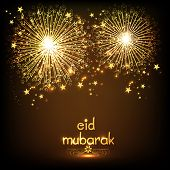 pic of ramazan mubarak  - Elegant greeting card design decorated with golden firecrackers on shiny brown background for holy festival of Muslim community - JPG
