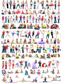 image of toy dog  - collage photos of  different ages children  on a white background isolated - JPG