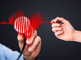 image of beating-heart  - Closeup portrait doctor hand listening to heart beat in heart shape with stethoscope - JPG