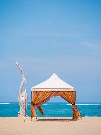 image of canopy roof  - canopy on Kuta beach in Bali Indonesia - JPG