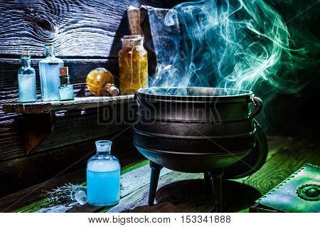 Vintage Witcher Cauldron With Blue