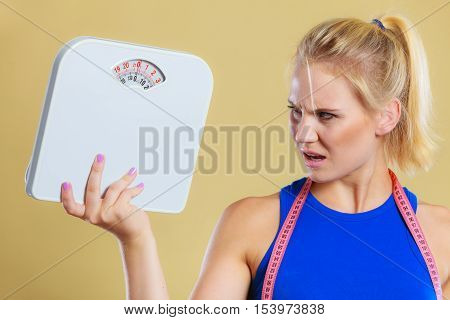 Angry Woman With Scale, Weight Loss Time For Slimming poster