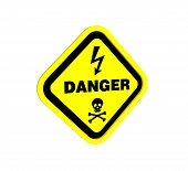 stock photo of dimentional  - warning sign design to three dimention for Presentation or lable - JPG