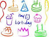 picture of birthday party  - colourful birthday party icons - JPG