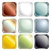 Vector Metallic Glossy Square buttons with rounded corners for Web site or print.