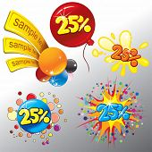 Festive Sale vector tags . Splash ,confetti,balloon, stickers,labels