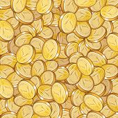 stock photo of golden coin  - Vector golden treasure background  - JPG