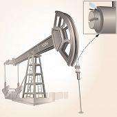 Realistic Oil pump/ pumpjack ,vector -only gradients used