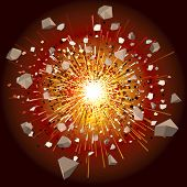 great explosion - vector illustration (only simply gradients)