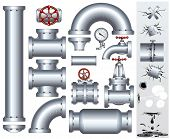 Set of industrial pipeline parts with set of various damaged elements. Vector gas or fuel pipe, faucet, valve, connector, shaft, wheel, fitting, gate etc...