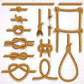 Set of Rope design elements - knot, ladder, noose, loop, reef knot, eight knot, string and broken ha