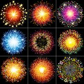 Collection of Colorful vector fireworks, sparklers, salute and petards explosions - design elements