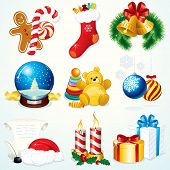 Christmas Set - detailed vector clip art include: Gifts, Sock, Sweets, Snowglobe,  Bells, Santa symb