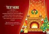 Vector Background with decorated Home room, Christmas tree, Festive Fireplace and Santa's gifts - ca