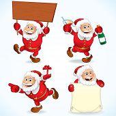 Funny Cartoon Santa Claus illustrations : Santa holding sign , bad drunk Santa, pointing Santa and S