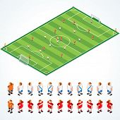 Soccer Tactical Kit - isometric vector illustration of football field and abstract teams, all elemen