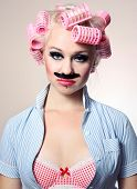 Attractive girl with mustache, similar available in my portfolio poster