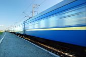 picture of passenger train  - Fast train passing by - JPG