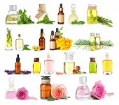 Collage of essential oils on white background poster
